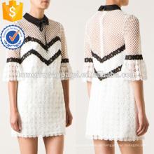 Изящные кружева белый и черный три четверти длины рукава мини-платье Производство Оптовая продажа женской одежды (TA0011D)