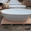 solid surface poly resin freestanding modern clawfoot bathtub red