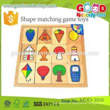 Juguete de madera del rompecabezas del emparejamiento del nuevo artículo juguetes a juego del juego de la forma de madera popular para los niños, juego de madera MDD-1010