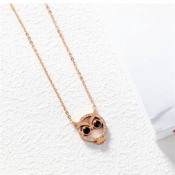 Women Owl Fox Butterfly Pendant Choker Necklace Stainless Steel CZ Crystal Charms Love Animal Jewelry for girls in Gift Box