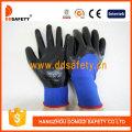 Blaues Nylon mit schwarzem Nitril-Handschuh-Dnn913