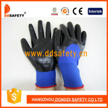 Nylon azul con guante de nitrilo negro-Dnn913