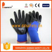 Blaues Nylon mit schwarzem Nitril-Handschuh Dnn913