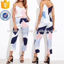 Top de impressão aleatória com calça fabricação atacado moda feminina vestuário (TA4011SS)