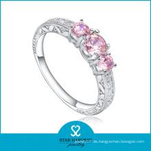 Attraktive rosa silberne Hochzeit Schmuck Ring (R-0467)