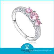Attractive Pink Silver Wedding Jewelry Ring (R-0467)