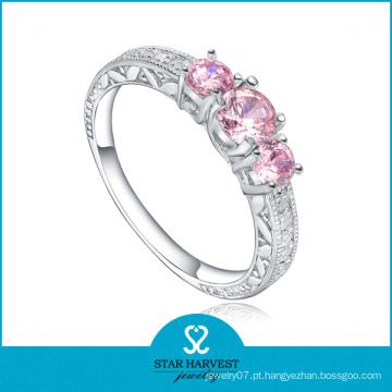 Atraente anel de prata rosa jóias de casamento (r-0467)