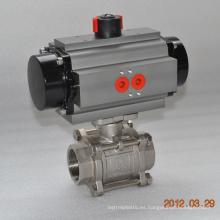 válvula de bola del hilo del flotador de tres piezas con el actuador neumático