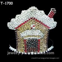 Venta al por mayor de color rhinestone casa de diseño de Navidad desfile coronas