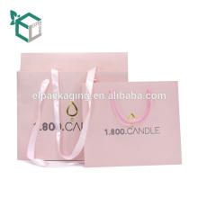 Bolso de compras de encargo de la vela de los cosméticos del logotipo del precio de fábrica con la manija