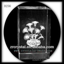 Fleur de laser 3D de K9 à l'intérieur du rectangle en cristal