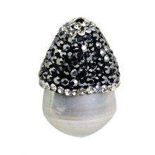 Acero al por mayor de la perla del pendiente de la perla de la forma de la seta 25 * 15m m