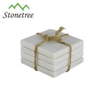 Quadratische Marmor-Untersetzer-Sets