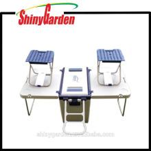 Picnic Rolling 28Litre Caja de hielera de plástico con mesa y sillas