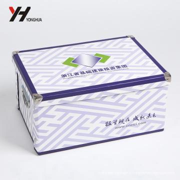 boîte d'emballage de cadeau pliable de carton de style rétro de nouveau design classique avec le bouton d'encliquetage et le protecteur d'angle en métal