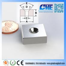 Strong F19.05X19.05X6.35mm Block Counterbore Neodymium Magnet
