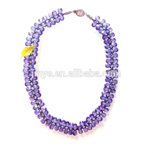 Luxury Purple Zircon Statement Necklace for Party or Show