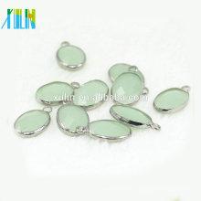 K9 Kristallverbinder. Sterling Silber Oval Halskette Connector, Dangle Ohrring Stecker, Armband-Anschluss - Kristall Anhänger