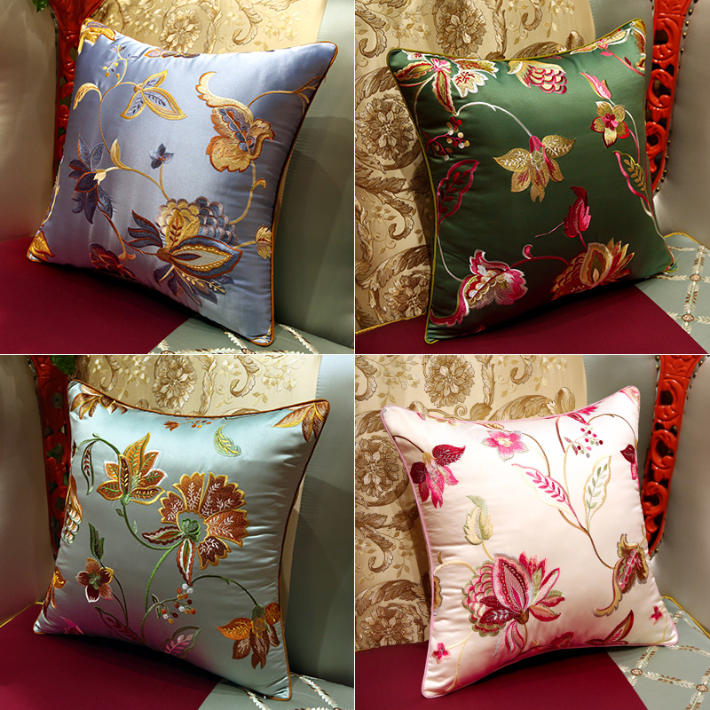 :Hand Embroidered Throw Pillow