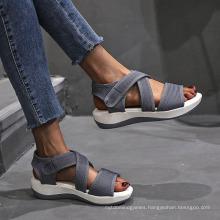 Superstarer New Footwear Flying Knit Breathable Magic Tape Hook Strap Platform Shoes Big Size Sandals