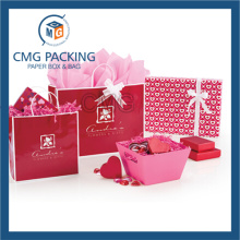 Red Customized Color Paper Jewelry Bag (DM-GPBB-150)