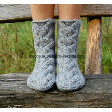 Cable Hand Knit Home Wool Slippers Bed Socks Boots