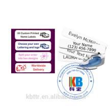 Ferro feito sob encomenda em etiquetas impressas personalizadas da identidade do nome do vestuário