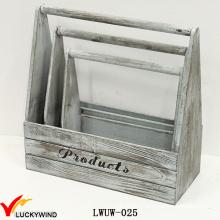 New Handmade Slat Wood Vintage Wooden Planter Basket