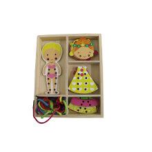 Holzmädchen String Dressing Spiel Spielzeug für Kinder