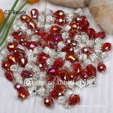 Mixed Colors Faceted Teardrop,Crystal Glass Beads