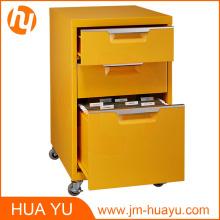 Meubles de bureau 2 tiroirs roulants en métal jaune armoire de classement