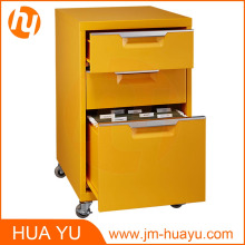 Office Furniture 2 Drawers Rolling Metal Yellow Filing Cabinet