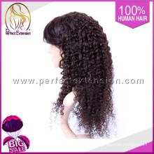 Produits capillaires pour les hommes Afro crépus bouclés pleine dentelle perruques chauve tête perruque
