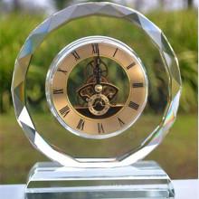 Relógio de mesa de vidro redondo de cristal para presente