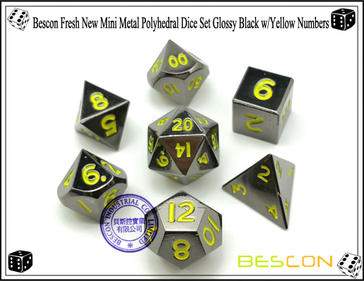 Bescon Fresh New Mini Metal Polyhedral Dice Set Glossy Black with Yellow Numbers-4