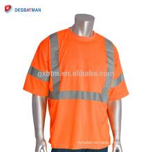 Venta al por mayor ANSI clase 3 X-Back manga corta uniformes de trabajo cuello redondo alta visibilidad camiseta de seguridad con bolsillo de cinta reflectante