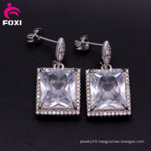 Square Shaped Gemstone Cubic Zirconia Single Stone Earring Designs