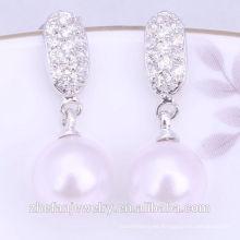 Diseño de moda al por mayor de los pendientes de la perla / el último diseño de pendientes de la perla La joyería plateada de rodio es su buena selección
