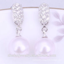 Wholesale fashionable pearl earrings design/latest design of pearl earrings Rhodium plated jewelry is your good pick
