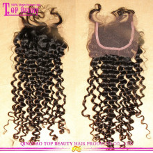 Grade 7A High Quality Deep Curly Virgin Hair Free Parting Cheap Lace Closure
