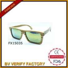 Plaza verde hecho a mano de madera gafas de sol 2015 (FX15035)
