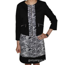 Zebra-patterned casual suit in black, long sleeved