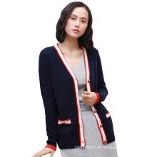 Mode Frauen reine Kaschmir Strickjacken einreihig Kontrastfarbe vorne oben fliegen elegante Strickjacken mit Taschen