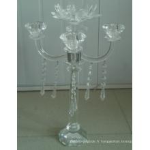 Bougeoir en cristal pour décoration à la maison avec cinq affiches