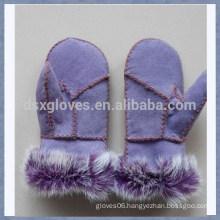 Cheap Winter Sheepskin Leather Gloves Fur Kid Gloves