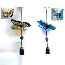 2 Asst Garden Metal Butterfly W. Stained Glass Windbell Craft