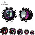 Muestra gratis 20 mm rosca hilo Thread Ear, Zirconia Flesh Tunnel Plug, Custom Black Eyelet Piercing Jewelry