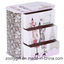Caja de almacenamiento de papel impreso a todo color con 3 cajones
