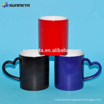 Factory Wholesale heat transfer color changing mugs, mugs with heart shape handle