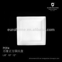 12 Zoll Knochen Porzellan Großhandel weiße quadratische Catering-Teller